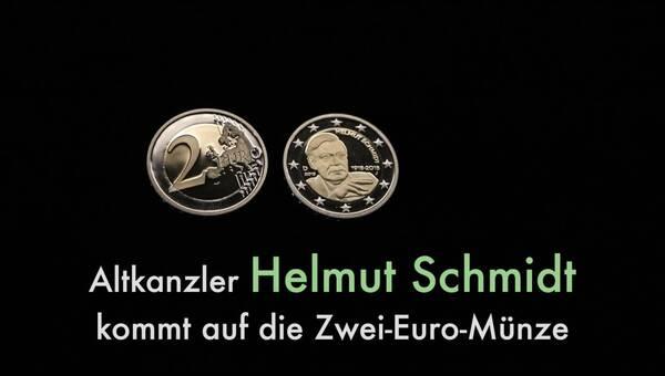 Zwei Euro Stücke Mit Helmut Schmidt Motiv Dpa Audio Video Service